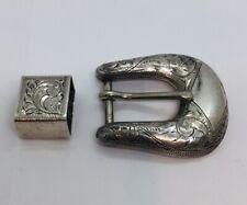 Bohlin Made Burbank Vintage Sterling Silver Western 2 Piece Ornate Belt Buckle