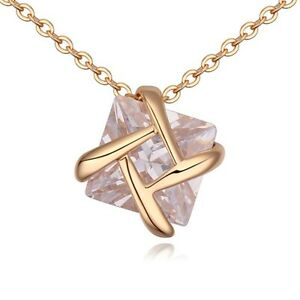 18K Gold Plated Sparkling Pendant Cubic Zirconia Necklace Ring SWROVSKI Style