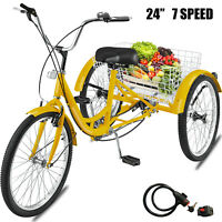 Adult Tricycle 24'' 7-Speed 3 Wheel Yellow Trike​ Shopping Cycling  Bicycle