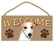 "Whippet or Greyhound Indoor Welcome Sign 5""x 10"" with Jute Hanger"