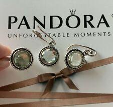 Pandora Green Amethyst 925 Compose Earrings 290644GAM & Ring sz 50 190620GAM