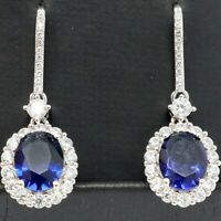 Vintage Oval Sapphire Dangle Earring Women Jewelry Gift 14K White Gold Plated