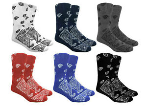MAD TORO PAISLEY BANDANA RETRO ALL OVER PRINT PATTERN KNIT MENS CREW SOCKS TUBE