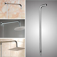 "24"" 60CM Wall Shower Head Extension Pipe Long Stainless Steel Arm"