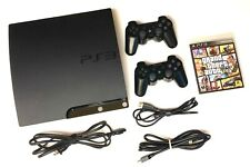 Sony PlayStation 3 PS3 SLIM 💥120GB SSD💥 Console: 2 OEM Controllers + 2 Games