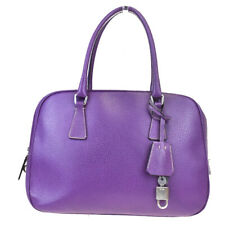 Authentic PRADA MILANO Logo Hand Bag Leather Purple Made In Italy 66MB321