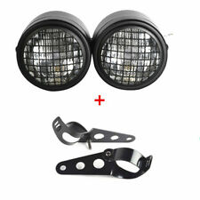 Motorcycle Twin Hi/Low Beam Grill Headlight Double Dual Front Lamp w/Bracket 12v