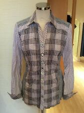 Just White Blouse Size 10 BNWT Beige Grey White Check RRP £125 Now £57