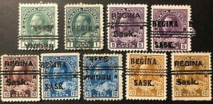 CANADA 1911-25 #s 104xx/118xx KING GEORGE V - REGINA, SASK. CITY PRE-CANCELS