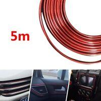 Red Edge Guard Stirp Car Interior Decoration U Protector Moulding Trim