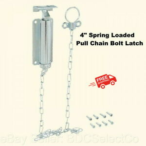 """Spring Loaded Pull Chain Bolt Latch  4""""  Zinc Finish  Barn Shed Gate Security"""
