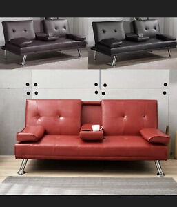 3 Seater Modern Design Sofa Bed with Magazine Pocket Cup Holder Faux Leather