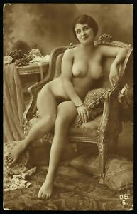 Original 1910 French Postcard Photo Voluptuous Nude Girl Nice Breast Biederer