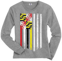 Maryland State American Flag Women's Long Sleeve T-Shirt US Pride