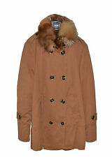 PINKO cappotto in gabardine con pelliccia effetto vintage