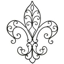 "LARGE 20"" Mahogany Black Metal Fleur De Lis Home Wall Decor. Piece of Art"