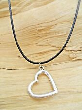 Love Heart Silver Effect Cutout Charm Pendant & Black Waxed Cord Necklace NEW