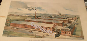 IVER JOHNSON Bicycle Gun Factory Panorama Antique Litho Print Fitchburg MA RARE