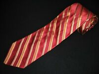 IKE Behar Tie Red Gold Stripe Thick Woven Luxury Designer Jacquard Silk Necektie