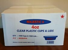 1000 X 4oz STRONG CLEAR Plastic Re-usable Sauce Containers & Lid  TRACKED DELIV.