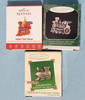Lot of 3 Trains ~ Miniature Hallmark Ornaments ~ Monopoly, Noel RR, Teeny Toy