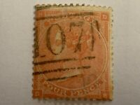 1862 Queen Victoria, 4d postage stamp, sg 79, pale red, plate 3, cv £120.00