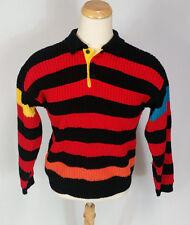Vtg Knit Surf Stripe Color Block 80s Sweater Polo Shirt SaTuRdAyS Hip Hop Mens