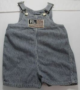 Ralph Lauren Polo Jeans Co Seersucker Overalls Infant Toddler Sz XL 18-24 Months
