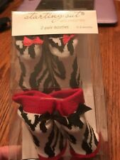 Starting Out Set Of 2 Pair Booties 0-6 Month Red & Black Zebra Stripe NWT