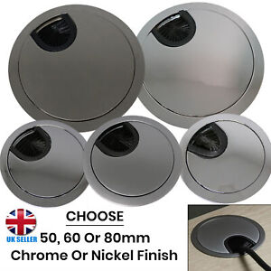 CHOOSE Chrome Silver, Nickel 50/60/80mm Round Desk Cable Tidy Grommet Insert UK
