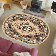 Teppich Orientteppich Klassisch Wohnzimmer Orientalisch Beige Oval 120 x 170