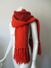 NWT UO Urban Outfitters Orange & Brick Two Tone Cable Knit Fringe Scarf
