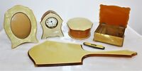 Vintage 1920's Art Deco Yellow Celluloid 7 Piece Vanity Set