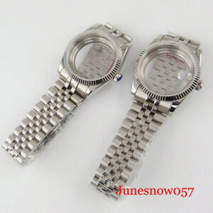 36mm Automatic Watch Case Fluted Bezel for ETA 2836 MIYOTA 8215 Seeing Back