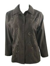 Bon Worth Small Button Up Shirt Brown Long Sleeve Paisley Embroidered Womens