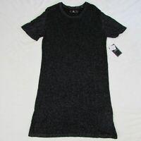 Womens Volcom Sweater Dress Black Glitter Short Sleeve Knit Size Large $49