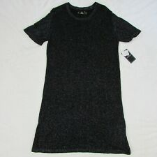 Womens Volcom Sweater Dress Black Glitter Short Sleeve Knit Size Large $49