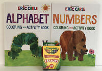 2 Eric Carle Brown Bear & Hungry Caterpillar Coloring & Activity Books + Crayons