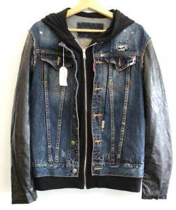 Mens DSQUARED2 Denim & Leather Hoodie Jacket Size EU 52 UK 42 Preloved -D26