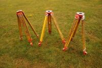 LOT OF 3 Vintage Topcon Extendable Wooden Leg Surveyor Tripod Total Station