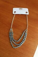 NEW Sparkly Blue glass necklace adjustable length 25 to 27 inch or can be choker
