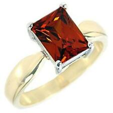 14K GOLD EP 4.5CT GARNET SOLITAIRE RING SIZE 5 or J 1/2