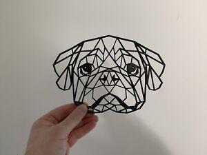 Geometric Pug Dog Pet Animal Wall Art Decor Hanging Decoration Origami