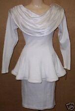 WOMEN's STEFANY SZYN VINTAGE 80'S WHITE COCKTAIL TOP & SKIRT SET size SMALL