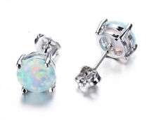 Fire Opal Stud Earrings White Gold Plated Sterling Silver