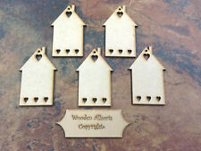 5x MDF Wooden House Home  Shapes Tags 90mm x 60 mm with hole embellishments