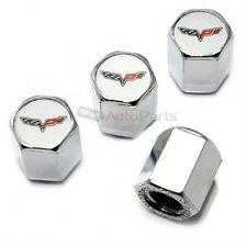 (4) Chevy Corvette C6 Logo Chrome ABS Tire/Wheel Pressure Stem Valve CAPS Covers