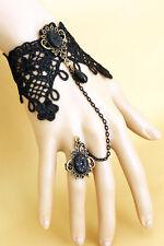 Mujer y Dama de Moda de Joyas-Negro Encaje Pulsera De Esclavo-Anillo de resina negra