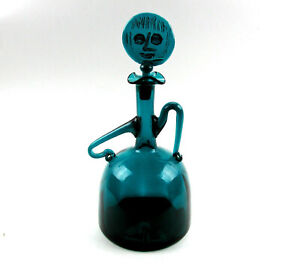 Vintage Hand Blown Blue-Green Bottle Depicting Woman With Stopper