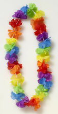 12 Pack Ruffled Flower Leis tropical Hawaiian cloth necklaces Luau party supply